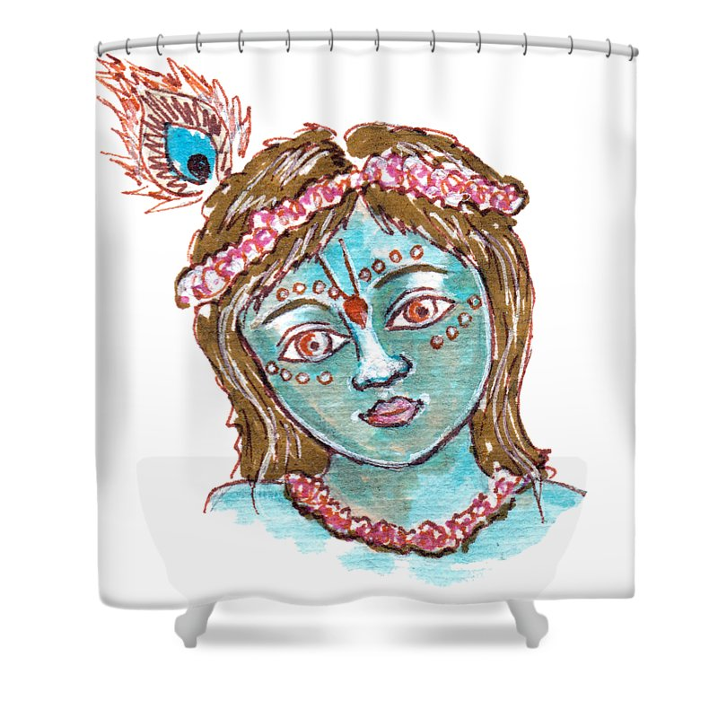Baby Krishna Cute Painting Shower Curtain For Sale By Elena Sysoeva