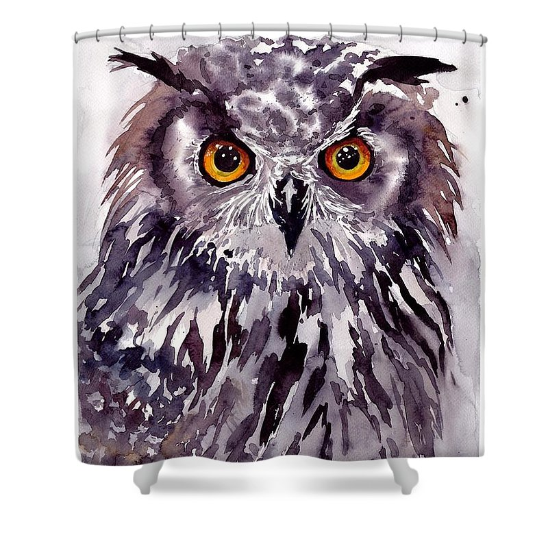 Pigeons Shower Curtain featuring the painting Baby Owl by Suzann Sines