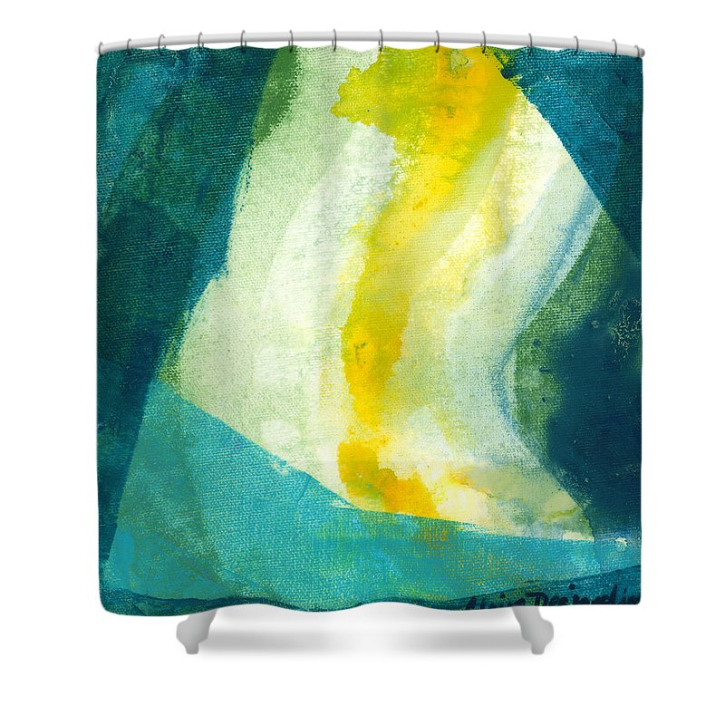 Abstract Shower Curtain featuring the painting Back by Claire Desjardins