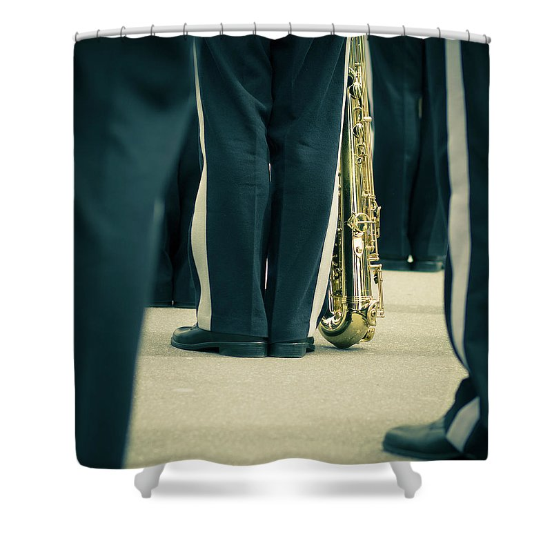 Versailles Shower Curtain featuring the photograph Backlegs Of Military Musician With by Boma.dfoto@gmail.com