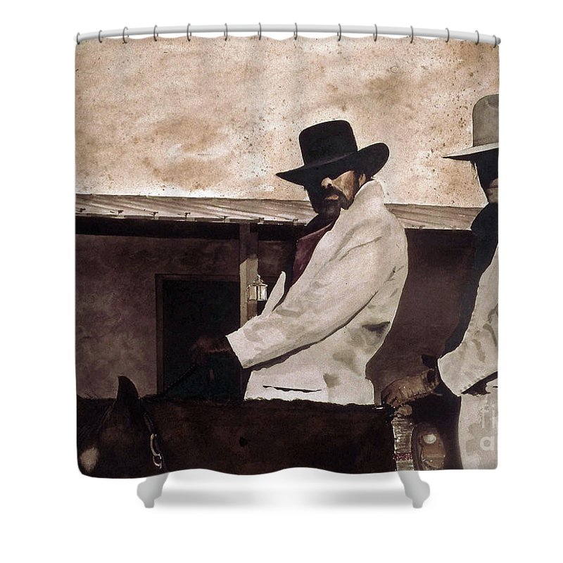 Two Questionable Cowboys Ride In To Town. Shower Curtain featuring the painting Bad News by Monte Toon