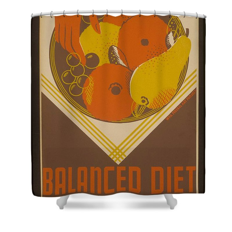 Diet Shower Curtain featuring the painting Balanced Diet For The Expectant Mother Inquire At The Health Bureau by Celestial Images