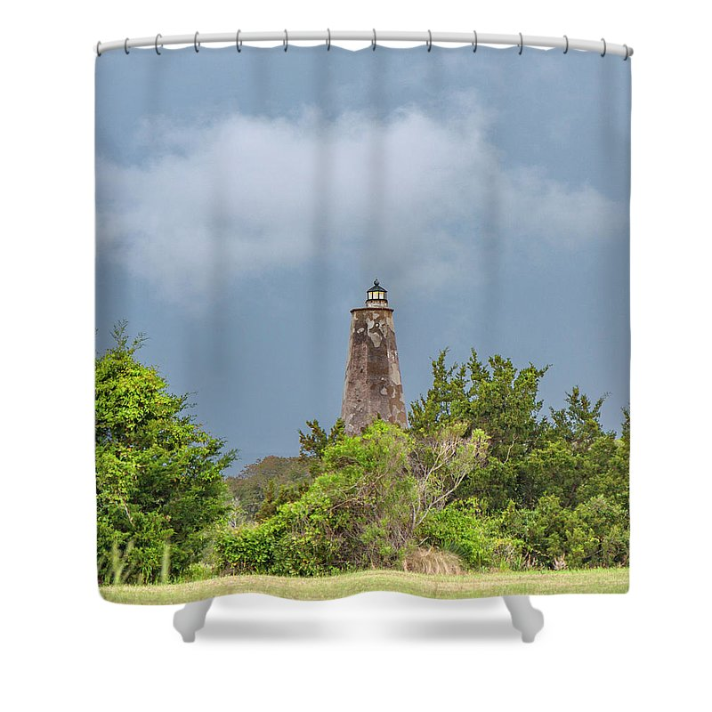 Bald Shower Curtain featuring the photograph Bald Head Island Lighthouse by Betsy Knapp