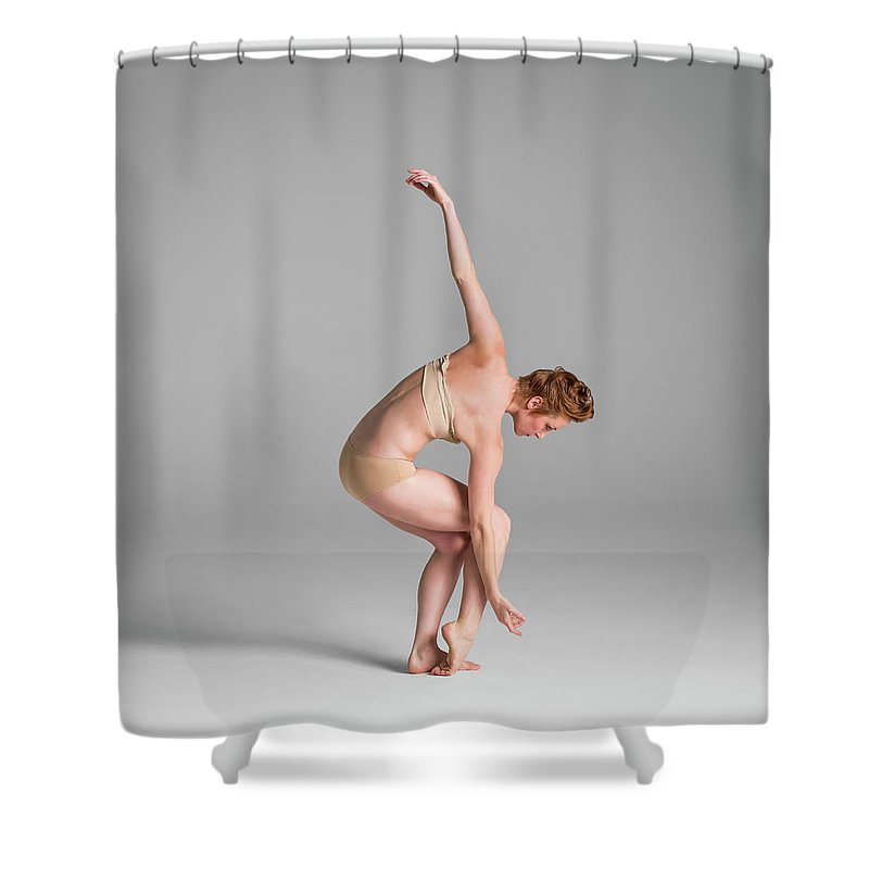 Ballet Dancer Shower Curtain featuring the photograph Ballerina In Studio Dancing by Nisian Hughes