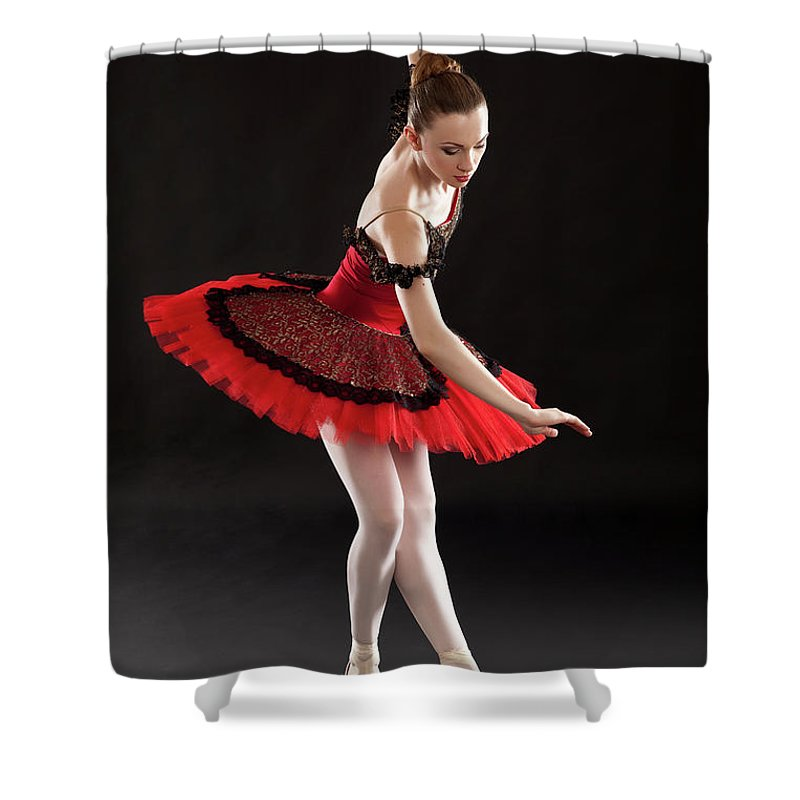 Ballet Dancer Shower Curtain featuring the photograph Ballerina On Point by Rollover