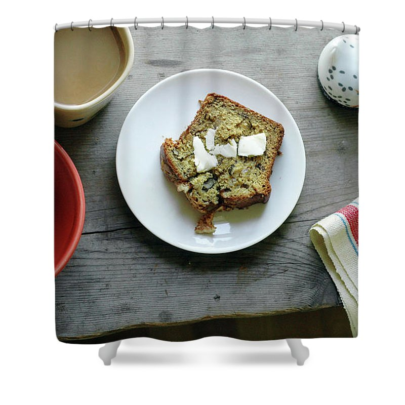 Domestic Room Shower Curtain featuring the photograph Banana Bread For Breakfast by Jennifer Causey