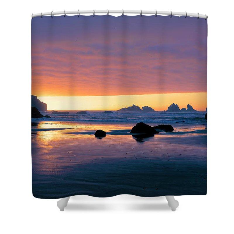 Bandon Beach Shower Curtain featuring the photograph Bandon Beach Sunset 4 by Jim Thompson