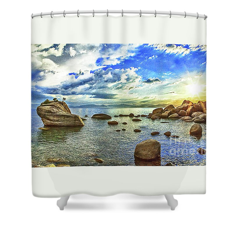 Lake Shower Curtain featuring the photograph Bansai Rock, Lake Tahoe, Nevada, Panorama by Don Schimmel