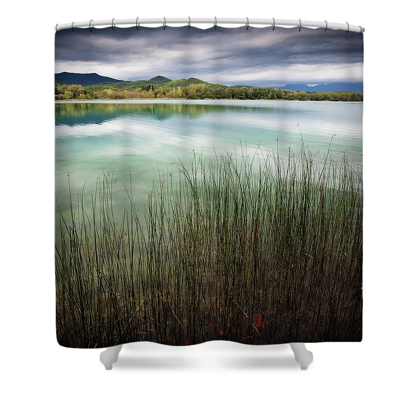 Scenics Shower Curtain featuring the photograph Banyoles And Lake Banyoles In Catalonia by Marc Princivalle For Imagesconcept.com