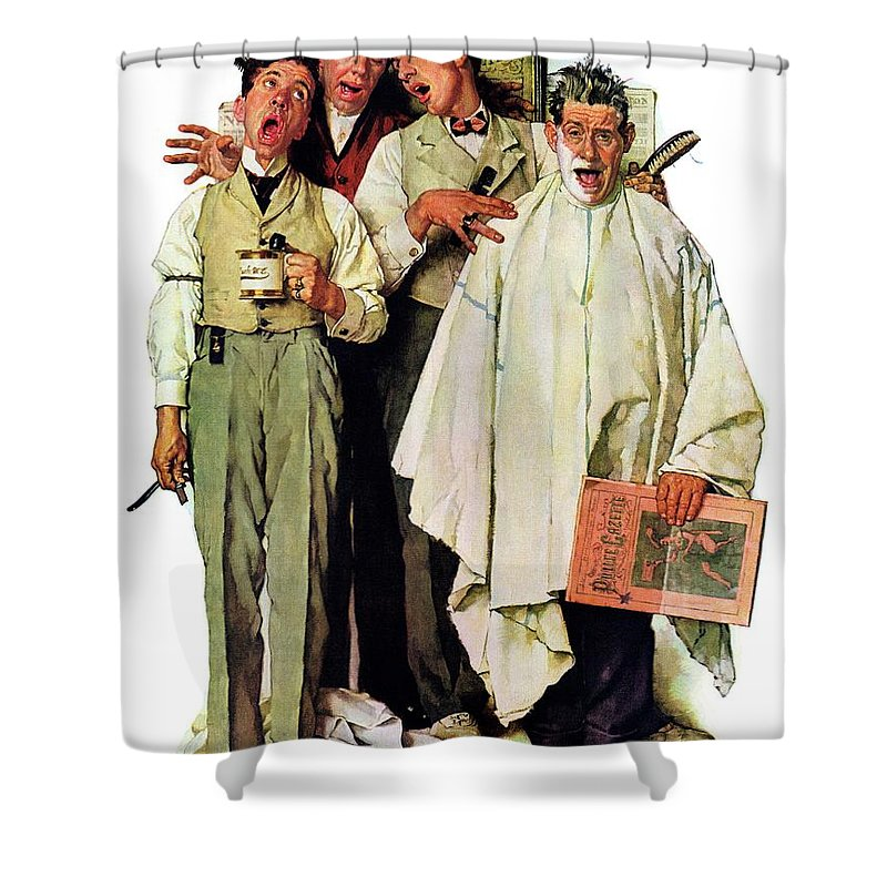 Barbers Shower Curtain featuring the drawing Barbershop Quartet by Norman Rockwell