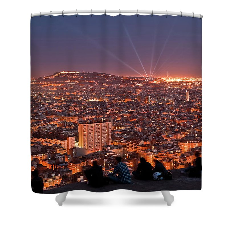Catalonia Shower Curtain featuring the photograph Barcelona At Night With People by Artur Debat