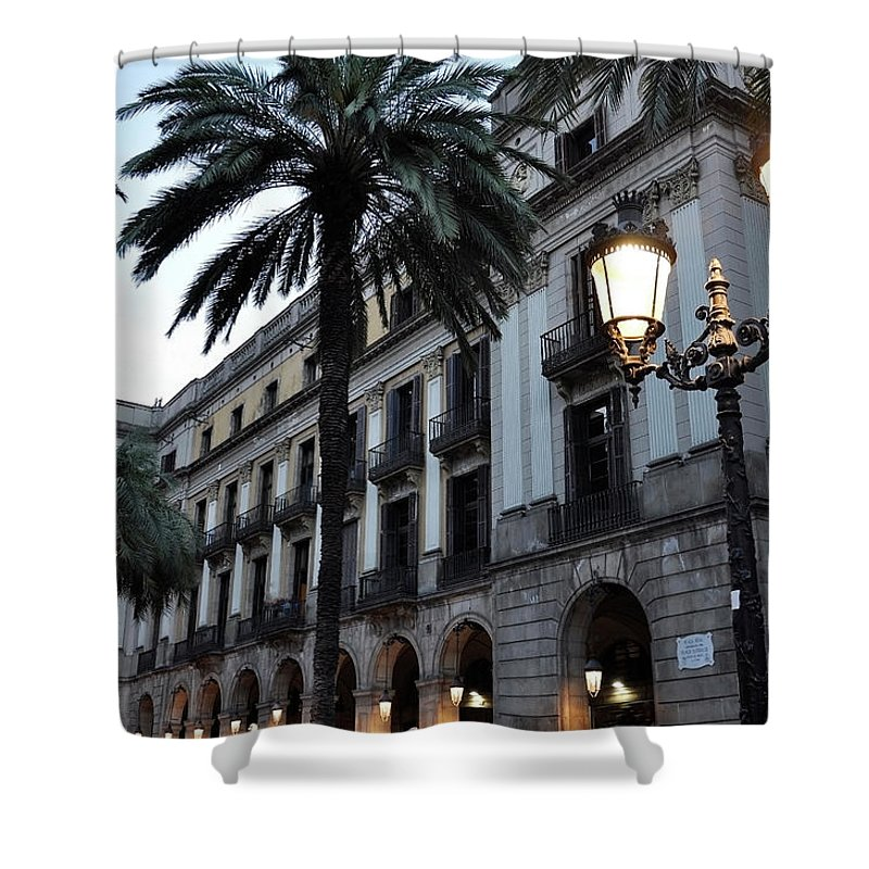 Outdoors Shower Curtain featuring the photograph Barcelona, Placa Reial by Stefano Salvetti