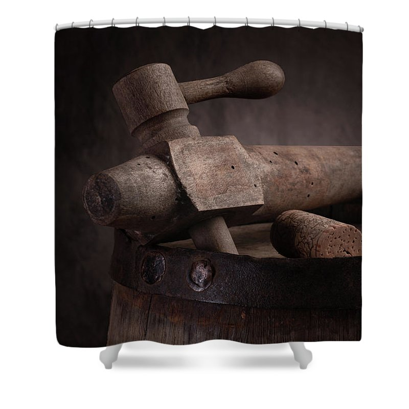 Aged Shower Curtain featuring the photograph Barrel Tap With Corks by Tom Mc Nemar