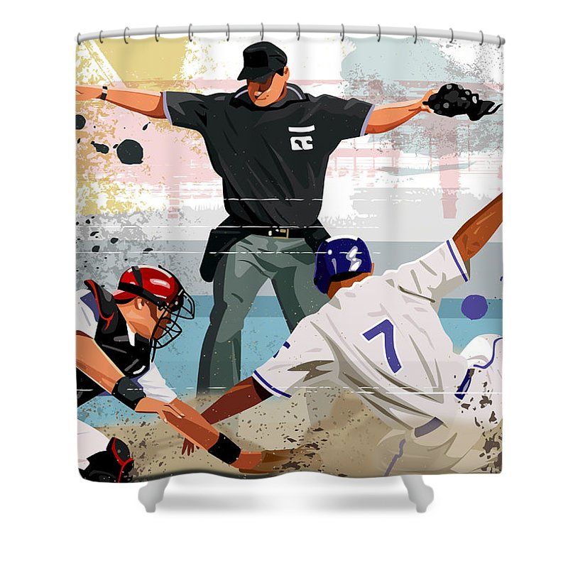 Helmet Shower Curtain featuring the digital art Baseball Player Safe At Home Plate by Greg Paprocki