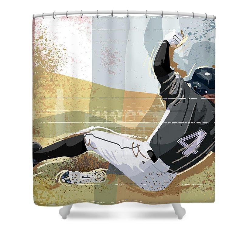 Sports Helmet Shower Curtain featuring the digital art Baseball Player Sliding Into Base by Greg Paprocki