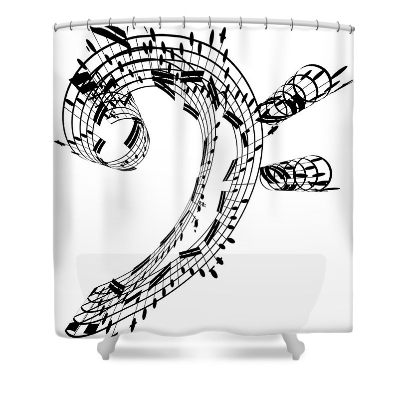 Sheet Music Shower Curtain featuring the digital art Bass Clef Made Of Music Notes by Ian Mckinnell