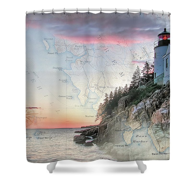 Lighthouses Of New England Shower Curtain featuring the photograph Bass Harbor Lighthouse On A Chart by Jeff Folger
