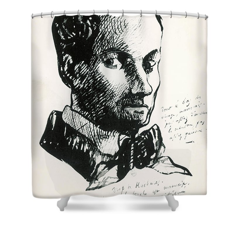 Self-portrait Shower Curtain featuring the drawing Baudelaire Self-portrait by Charles Baudelaire