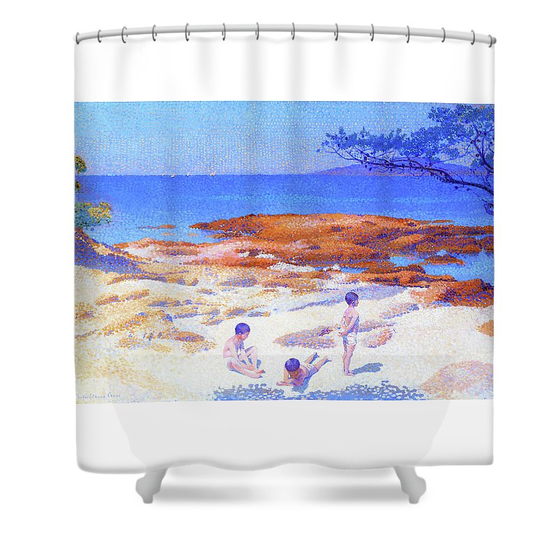 Beach At Cabasson Shower Curtain featuring the painting Beach At Cabasson - Digital Remastered Edition by Henri Edmond Cross