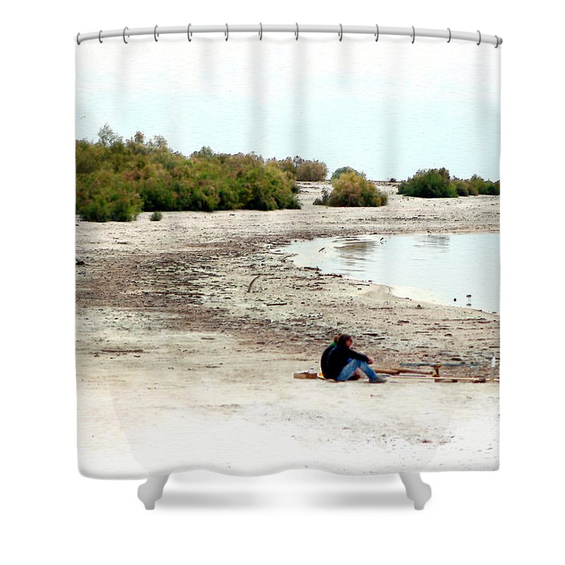 Watercolor Shower Curtain featuring the photograph Beach Goers-The Salton Sea in Digital Watercolor by Colleen Cornelius