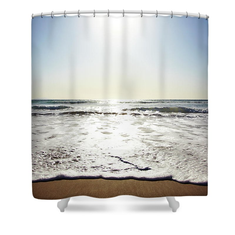 Tranquility Shower Curtain featuring the photograph Beach In California On Pacific Ocean by Thomas Northcut