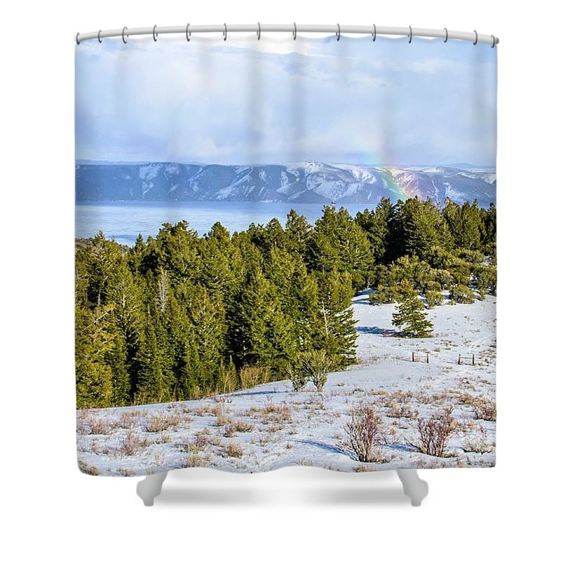 Tranquility Shower Curtain featuring the photograph Bear Lake Scenic Byway by ©anitaburke