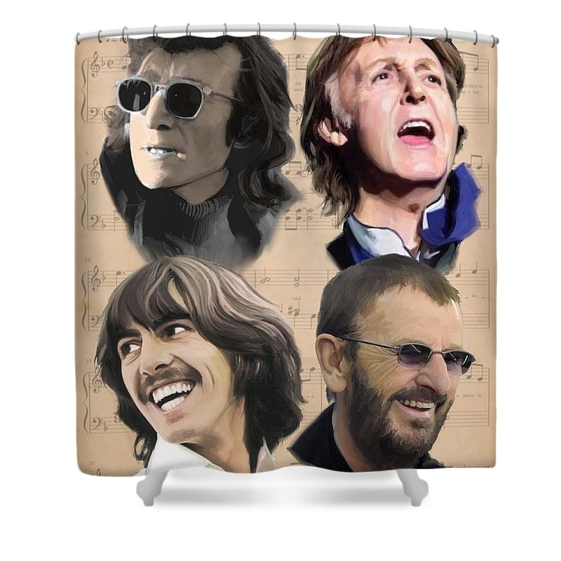Beatles Shower Curtain featuring the painting Beatles Yesterday by Paul Tag