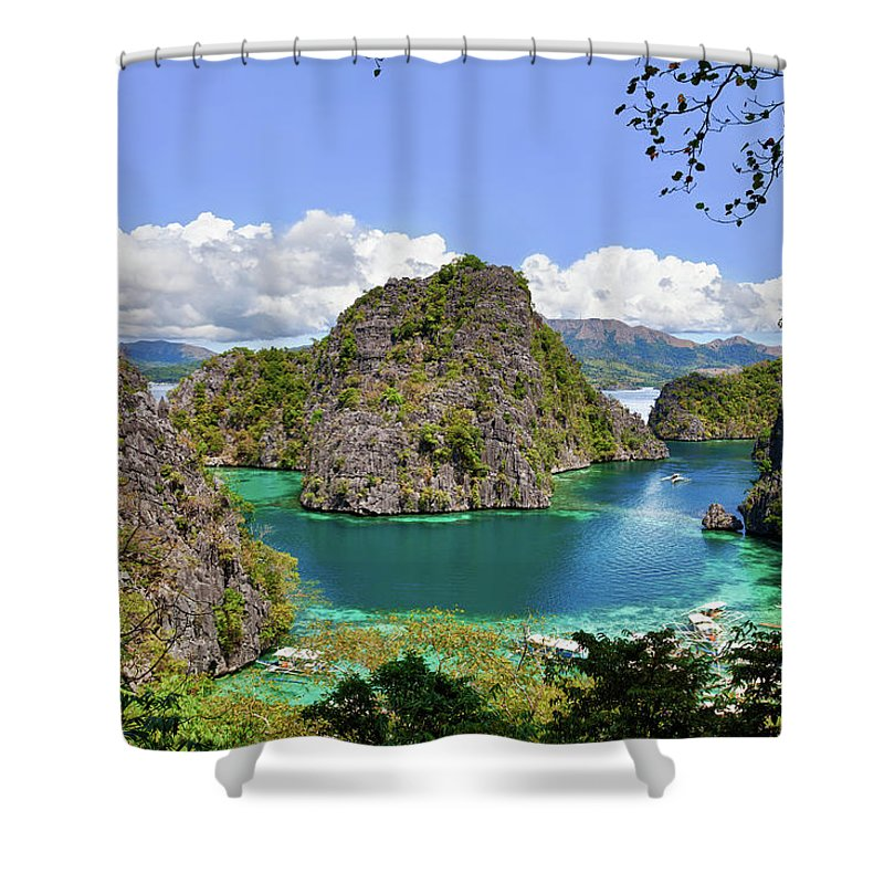 Scenics Shower Curtain featuring the photograph Beautiful Blue Lagoon At Kayangan Lake by Fototrav