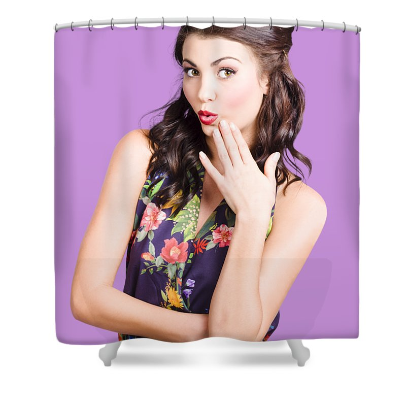 Woman Shower Curtain featuring the photograph Beautiful Girl With Red Lips Expressing Surprise by Jorgo Photography - Wall Art Gallery