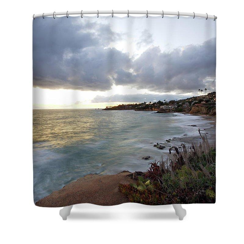 Laguna Beach Shower Curtain featuring the photograph Beautiful Laguna Coast After Sunset by Ekash