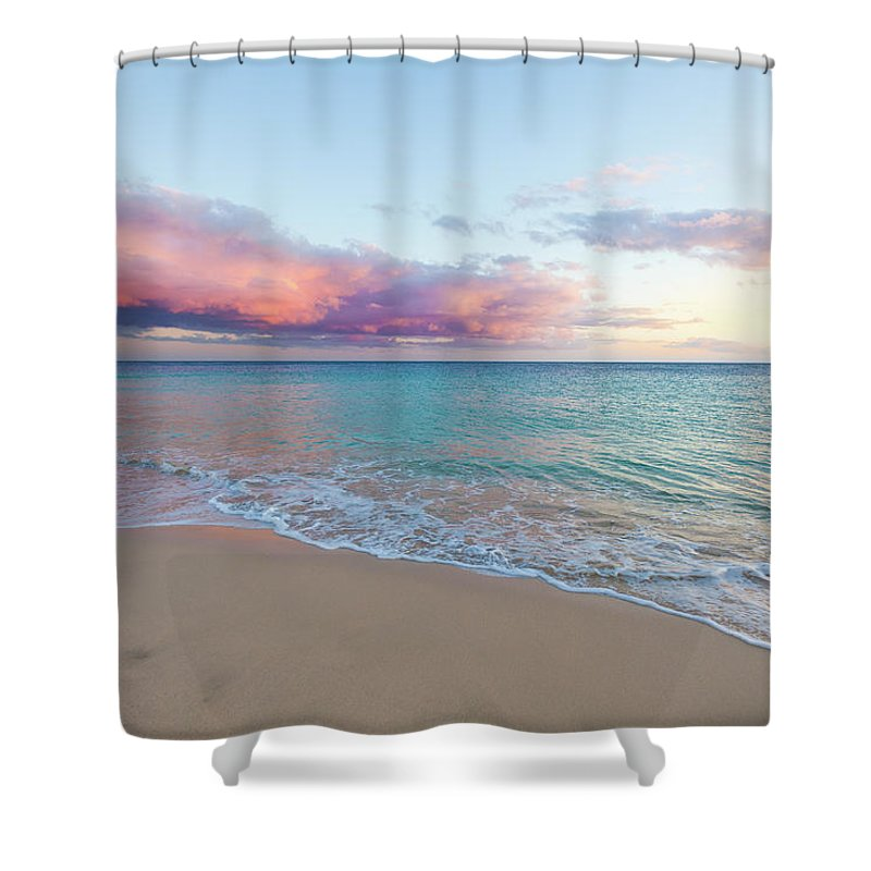 Water's Edge Shower Curtain featuring the photograph Beautiful Seascape, Beach And Ocean At by Zodebala