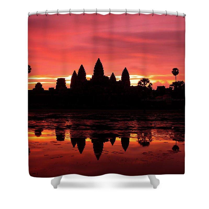 Cambodian Culture Shower Curtain featuring the photograph Beautiful Sunrise At Angkor Wat by Douglas Macdonald