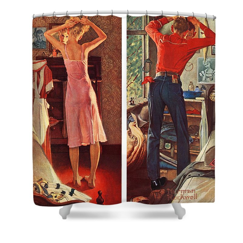 Cowboy Shower Curtain featuring the drawing Before The Date by Norman Rockwell