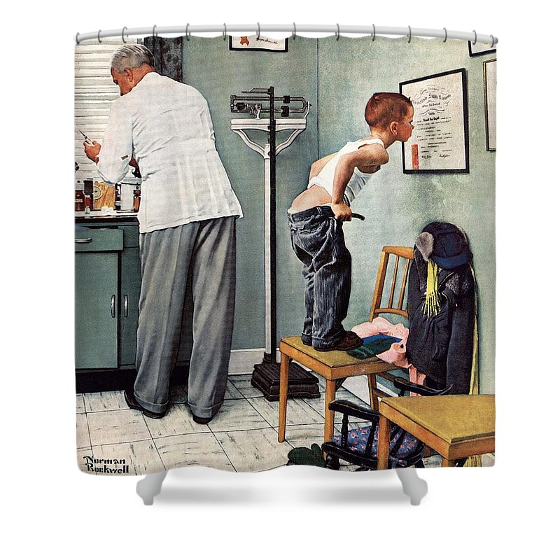 Bottoms Shower Curtain featuring the drawing Before The Shot by Norman Rockwell