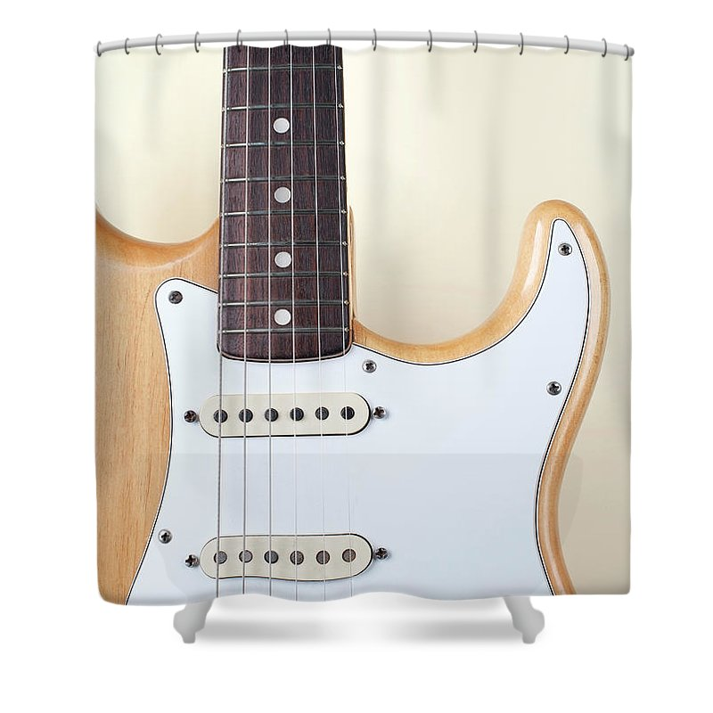 Rock Music Shower Curtain featuring the photograph Beige Wood Textured Electric Guitar by Neyya