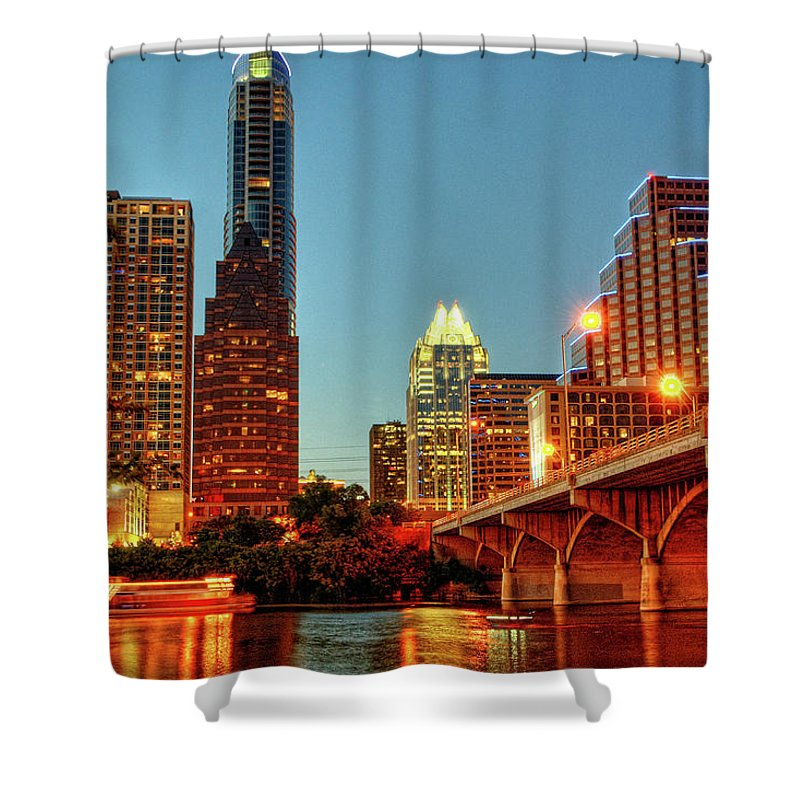Arch Shower Curtain featuring the photograph Below Congress Avenue Bridge by David Hensley
