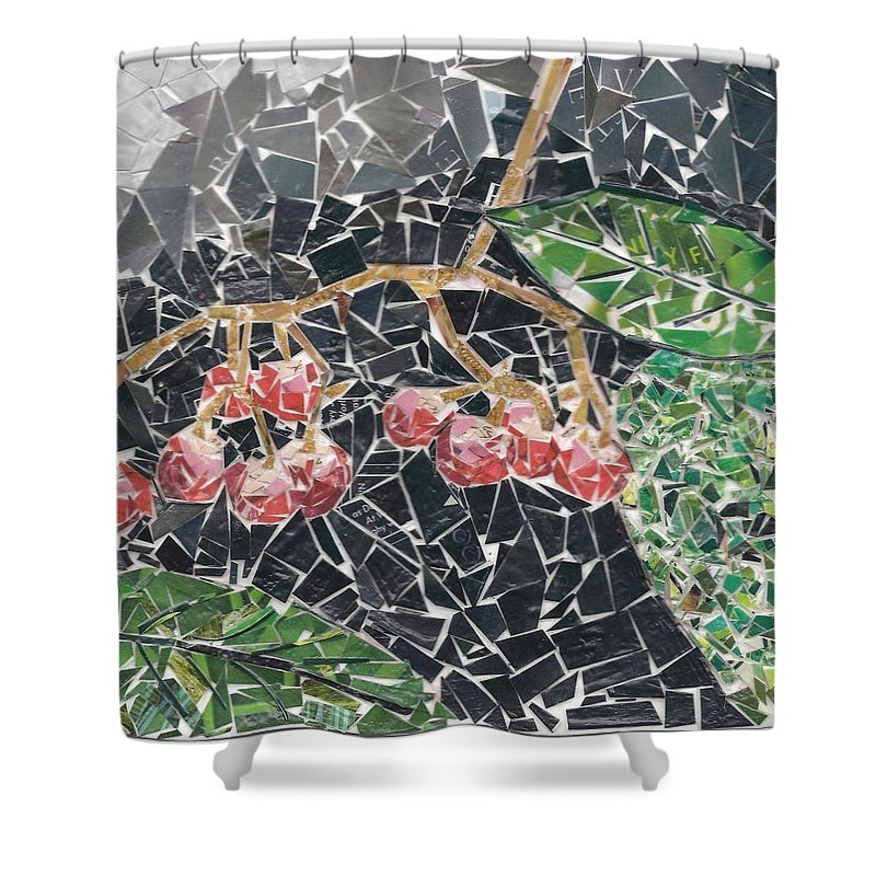 Berries Shower Curtain featuring the mixed media Berries by Karla Clark