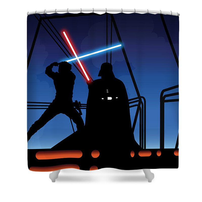Darth Vader Shower Curtain Featuring The Digital Art Bespin Duel By Nathan Shegrud