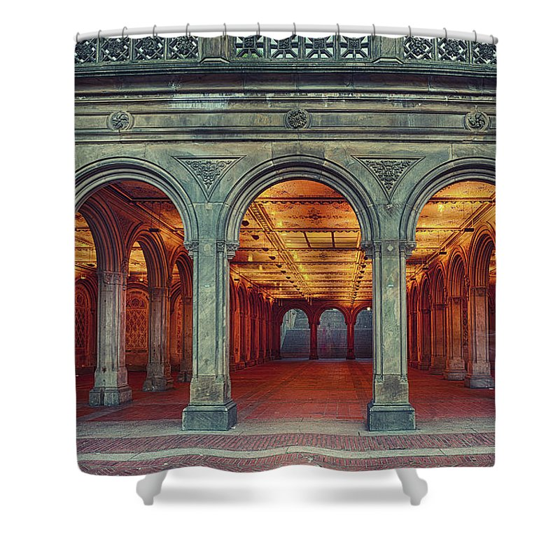 Arch Shower Curtain featuring the photograph Bethesda Terrace In Central Park - Hdr by Rontech2000