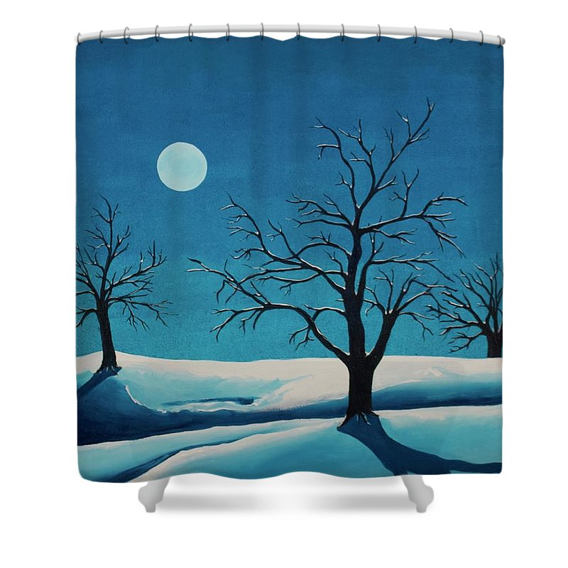 Blue Shower Curtain featuring the painting Beyond This Moment by Rollin Kocsis