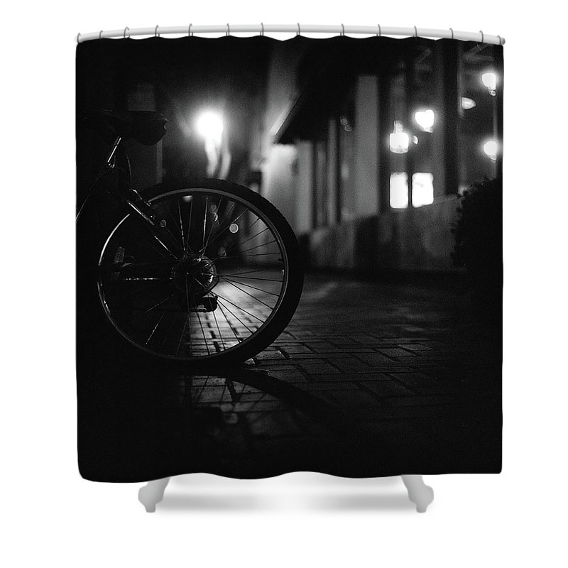 Shadow Shower Curtain featuring the photograph Bicycle In Dark Street by Satoshi Otani