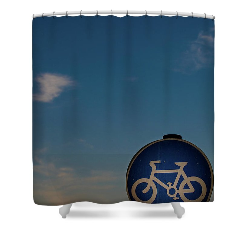 Outdoors Shower Curtain featuring the photograph Bicycle Sign With Sky by Photography By Stuart Mackenzie (disco~stu)