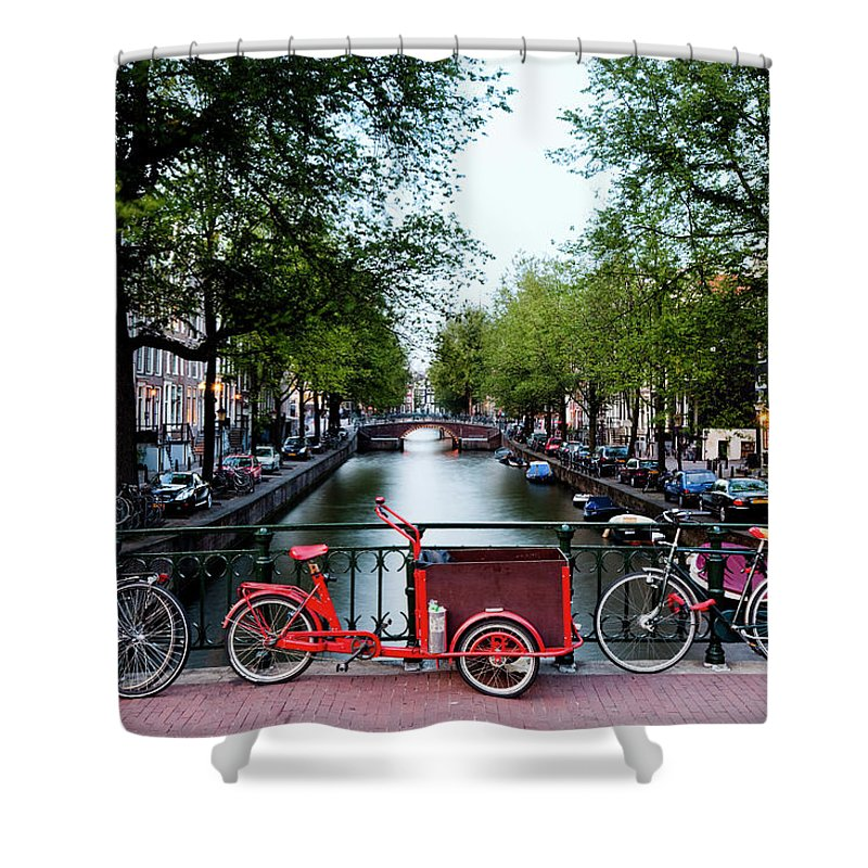 North Holland Shower Curtain featuring the photograph Bicycles Parked On Bridge Over by Jorg Greuel