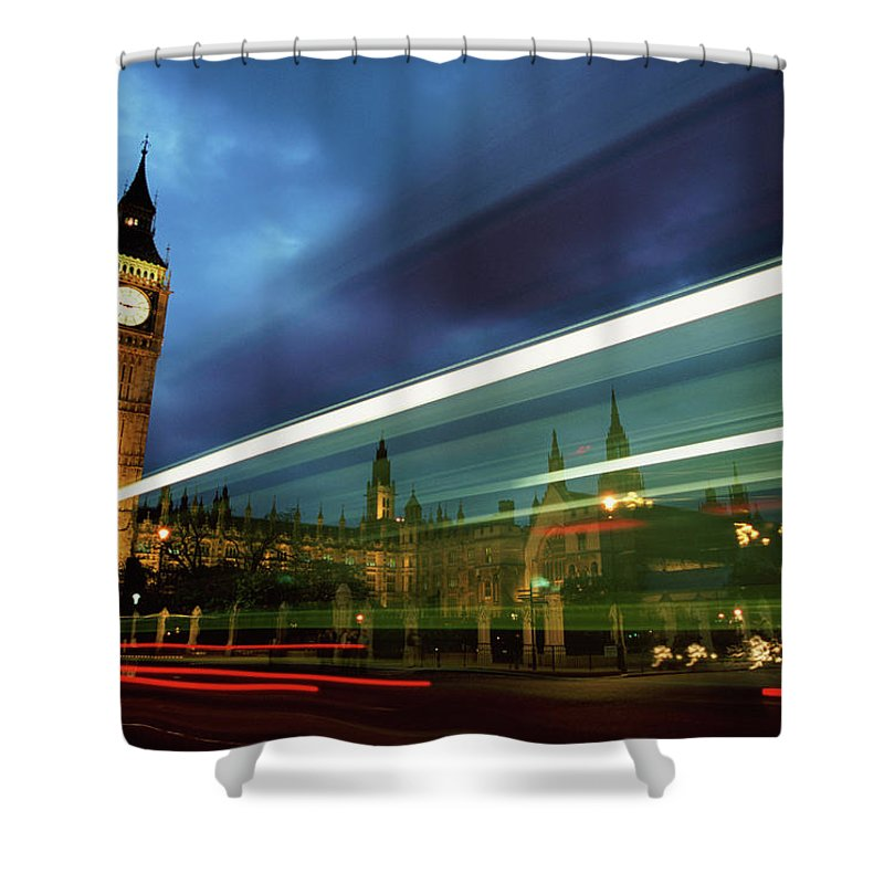 Gothic Style Shower Curtain featuring the photograph Big Ben And The Houses Of Parliament by Allan Baxter