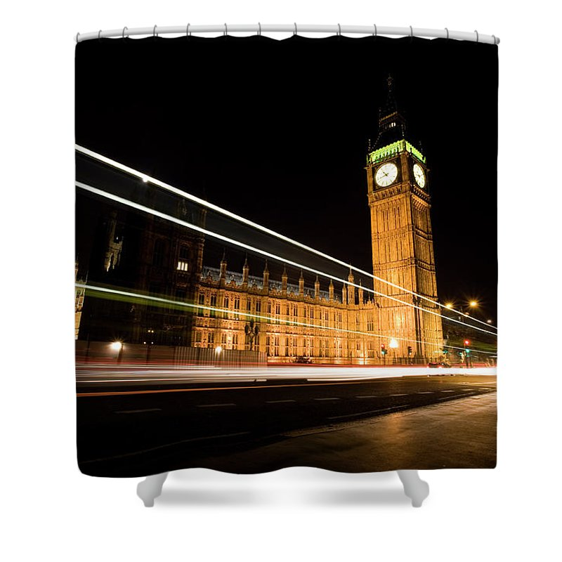 Clock Tower Shower Curtain featuring the photograph Big Ben At Night by Track5