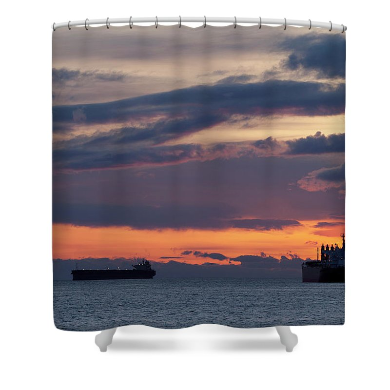 Scenics Shower Curtain featuring the photograph Big Boat Silhouettes by Visualcommunications