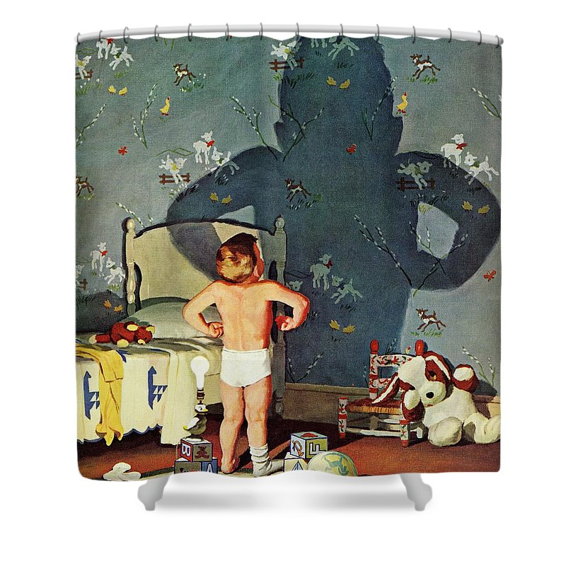 Boys Shower Curtain featuring the drawing Big Shadow, Little Boy by Richard Sargent