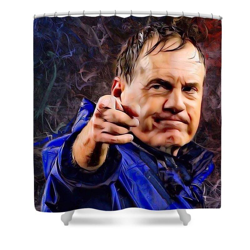 American Football Shower Curtain featuring the digital art Bill Stephen Belichick Portrait by Scott Wallace Digital Designs
