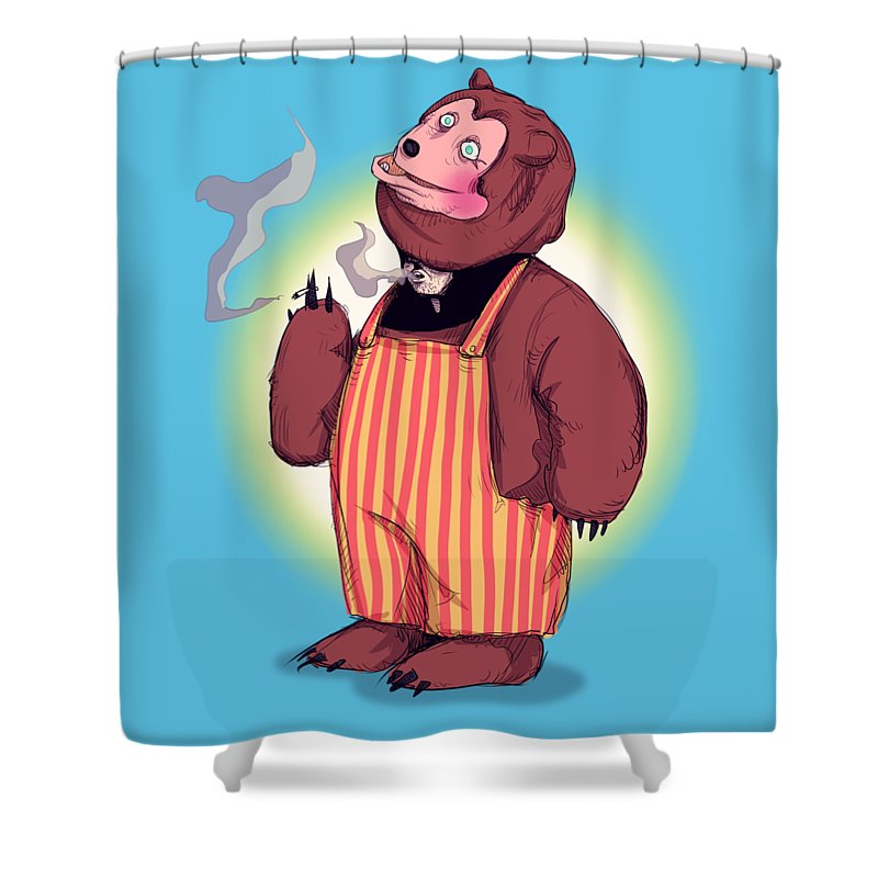 Billy Bob Shower Curtain featuring the drawing Billy Bob by Ludwig Van Bacon