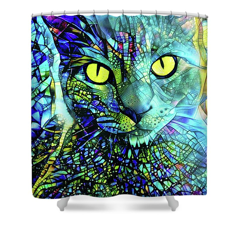 Gray Cat Shower Curtain featuring the digital art Binx The Stained Glass Cat by Peggy Collins